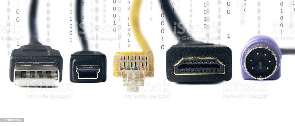 Computer connectivity cables and plugs on white royalty-free stock photo