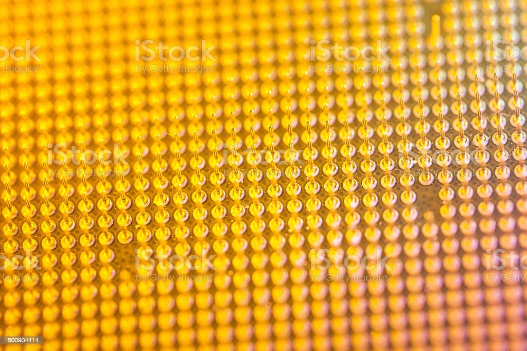 Computer CPU pin macro shot stock photo
