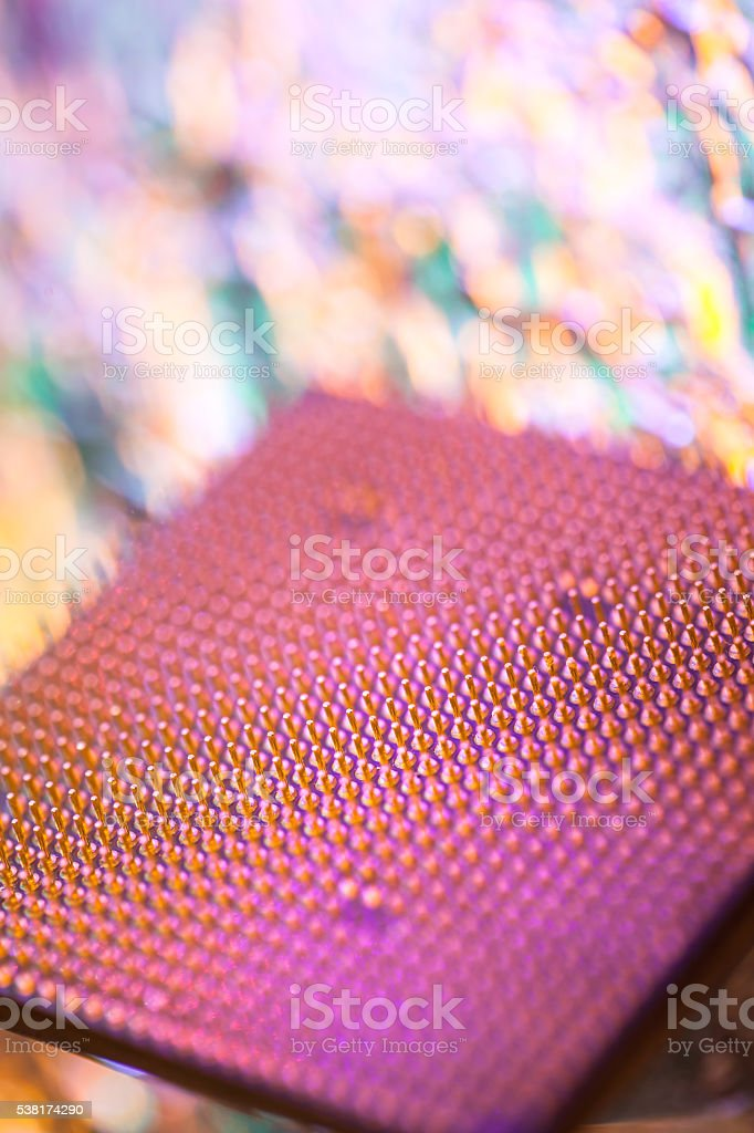 Computer CPU pin macro shot stock photo
