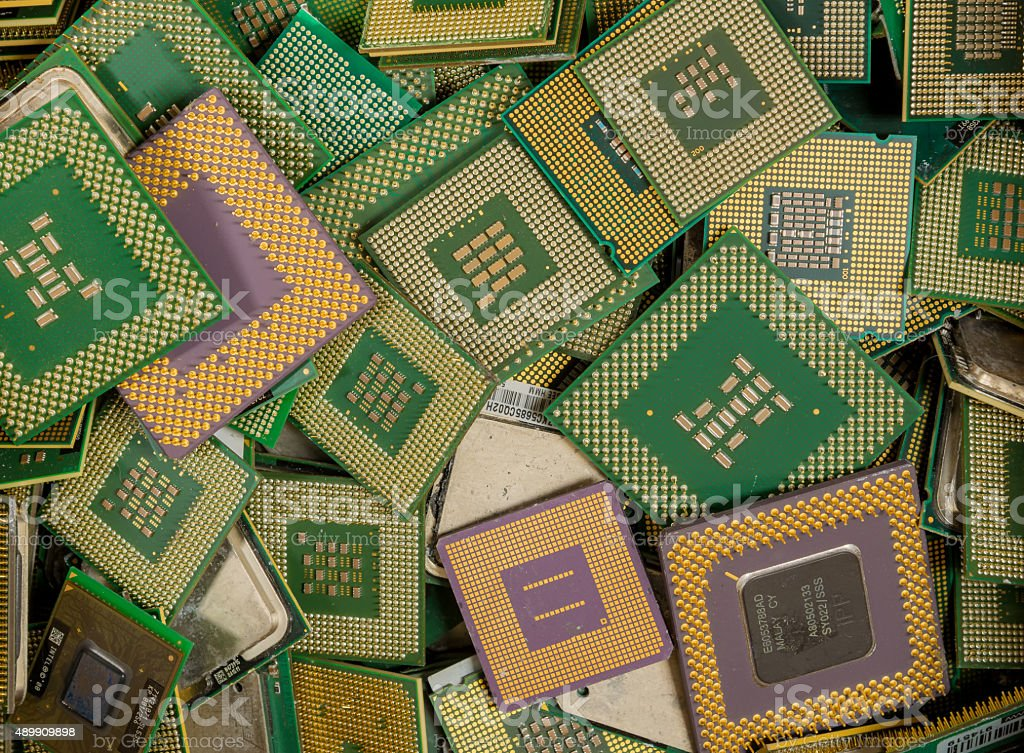 Computer CPUs For Recycling stock photo
