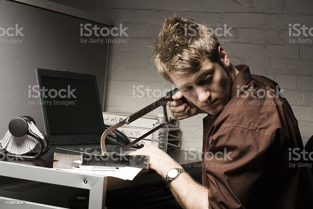 Computer Crime: Hacking a laptop royalty-free stock photo