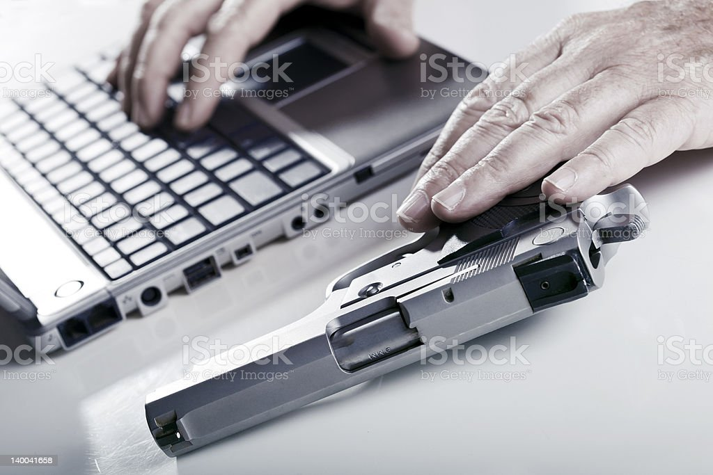 Computer Criminal in Action royalty-free stock photo