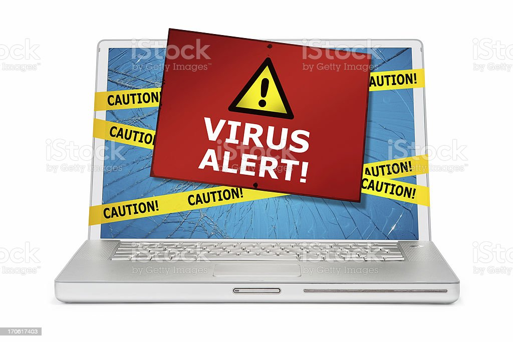 Computer Damaged by Virus stock photo