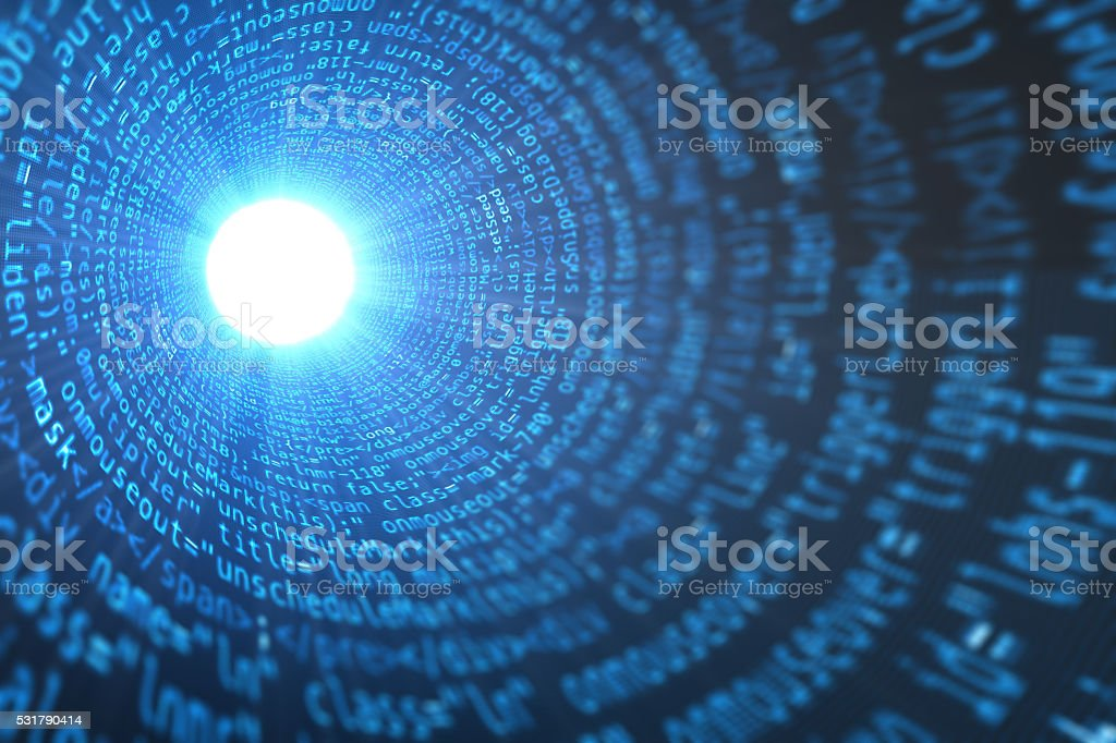 Computer data code tunnel with bright light stock photo