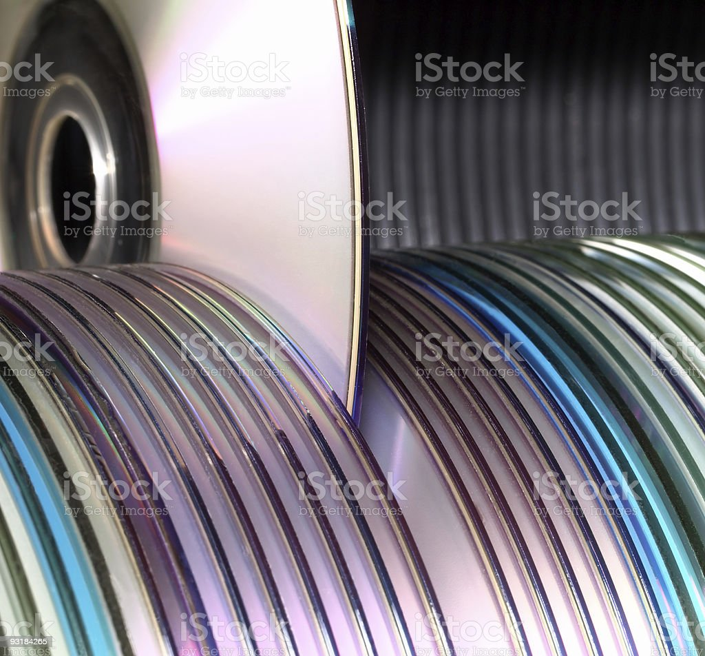 computer data discs storage library stock photo