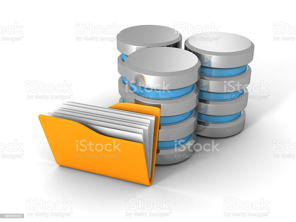 Computer Database With Yellow Office Document Folder stock photo