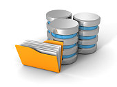 Computer Database With Yellow Office Document Folder