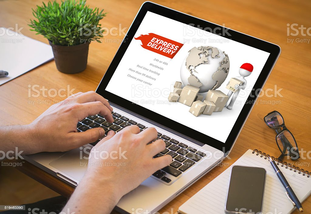 computer desktop express delivery stock photo