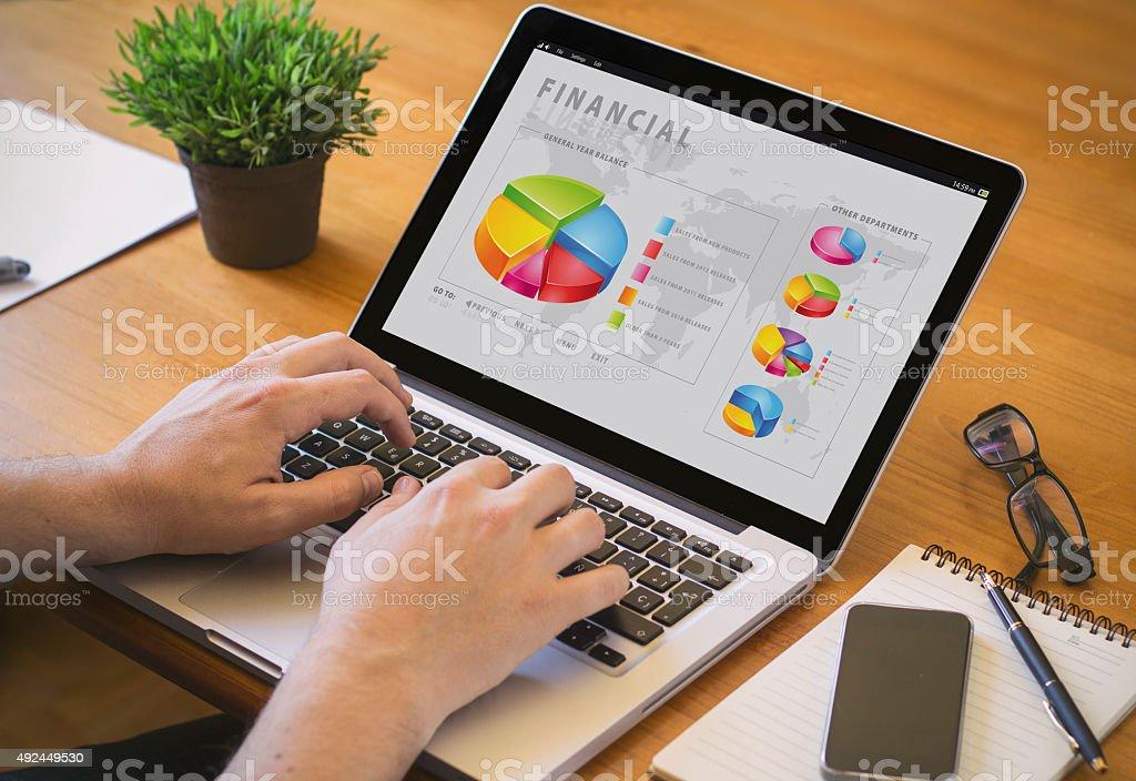 computer desktop finances stock photo