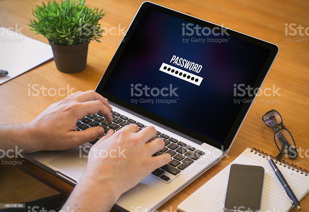 computer desktop password stock photo