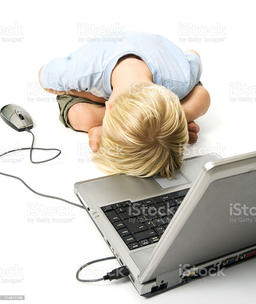 Computer despair stock photo
