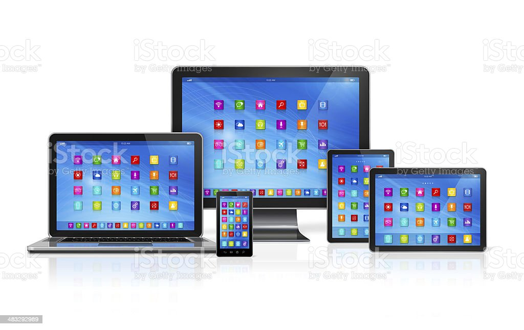 Computer Devices Set stock photo