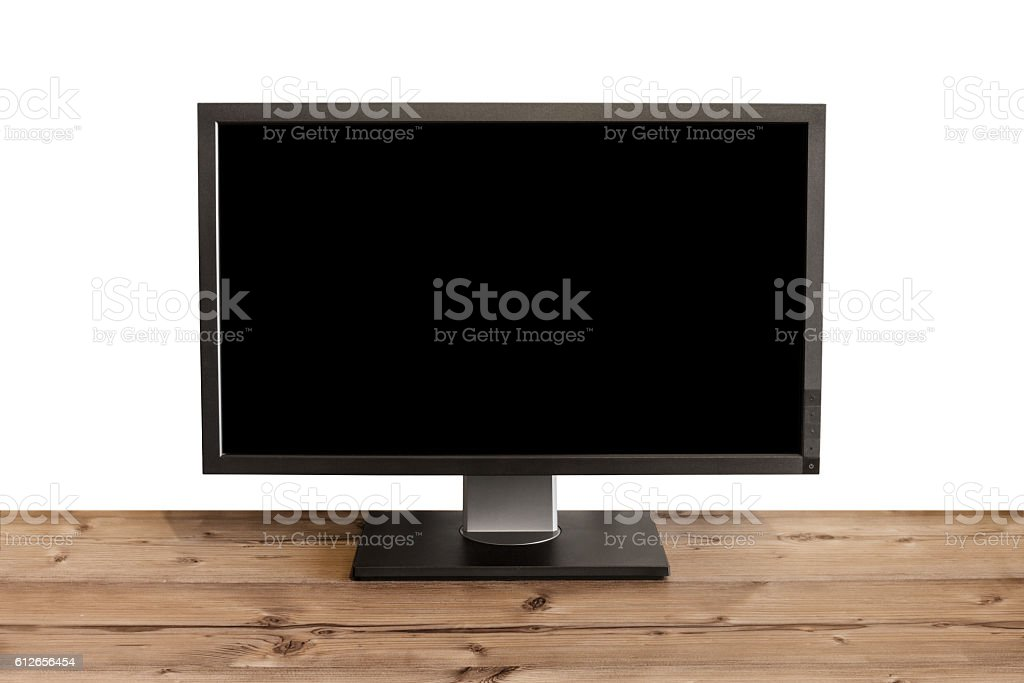 computer display with black screen - isolated on white background stock photo