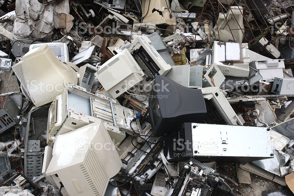 computer electronic and office parts for  recycling stock photo