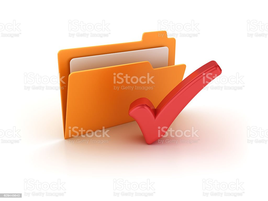 Computer Folder with Check Mark - 3D Rendering stock photo