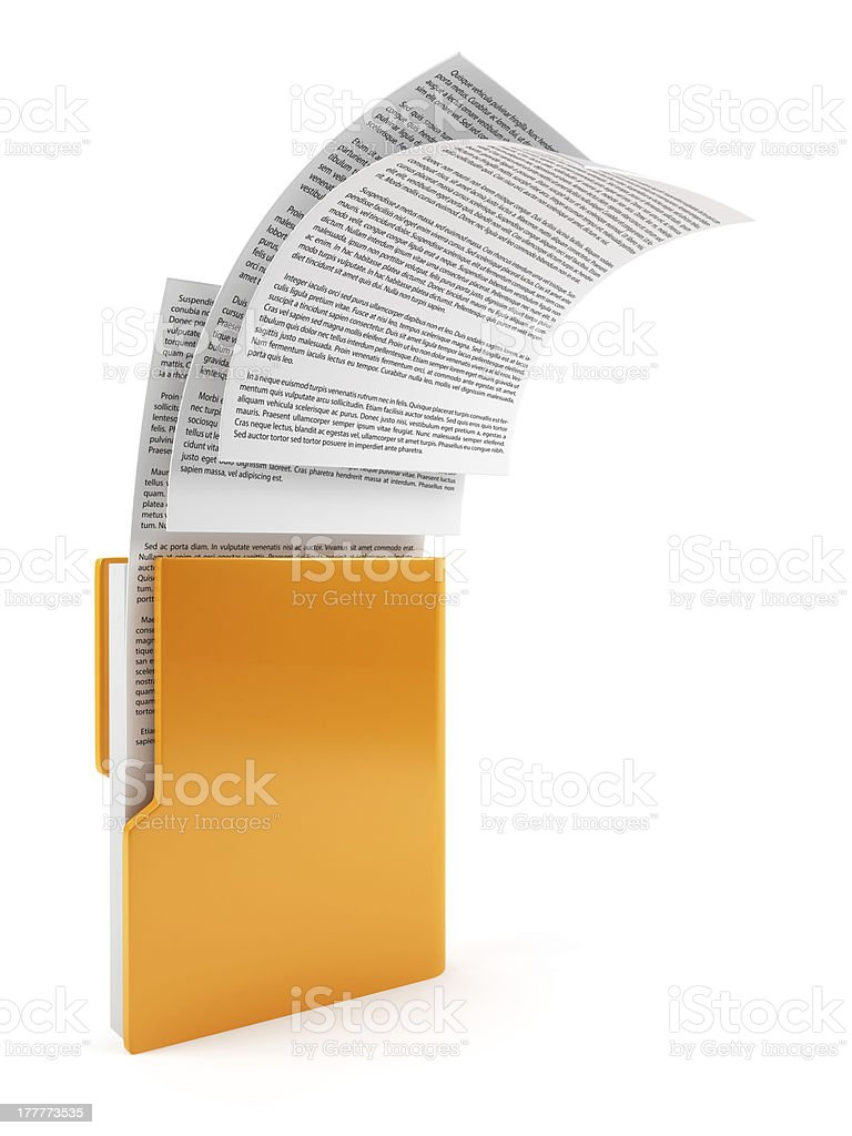 Computer folder with documents stock photo
