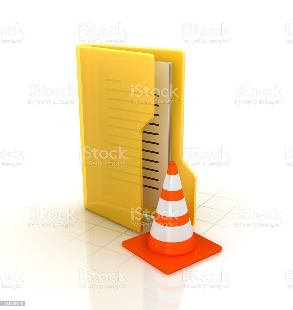 Computer Folder with Traffic Cone stock photo