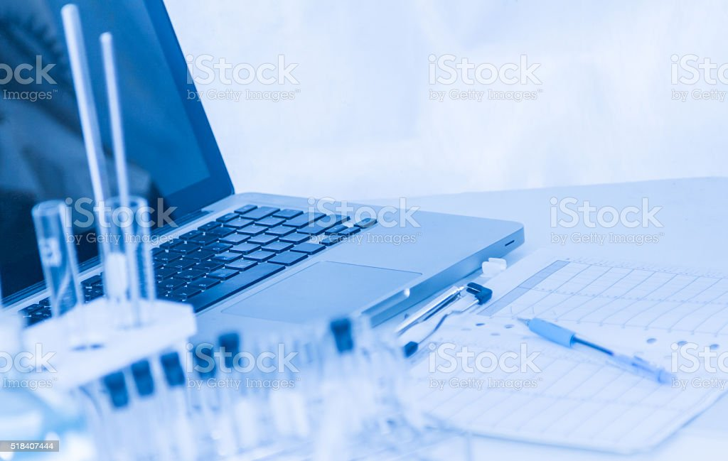 Computer for science research. stock photo