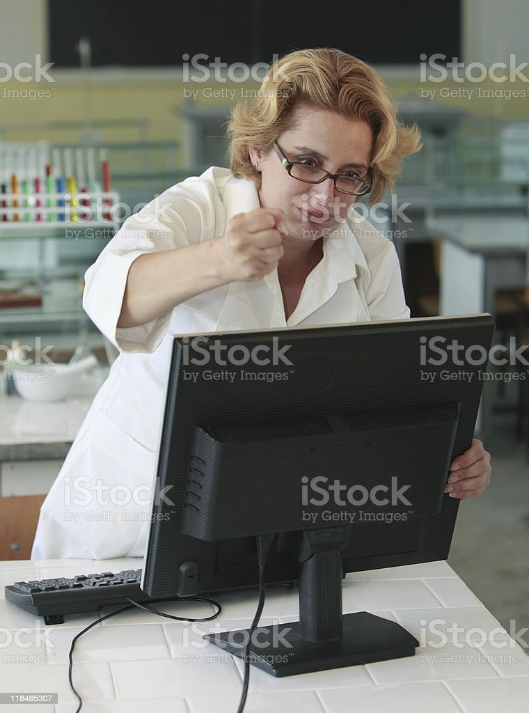 Computer frustration royalty-free stock photo