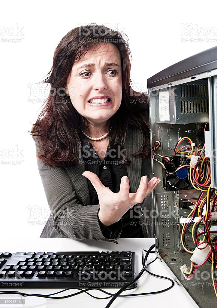 Computer frustration stock photo
