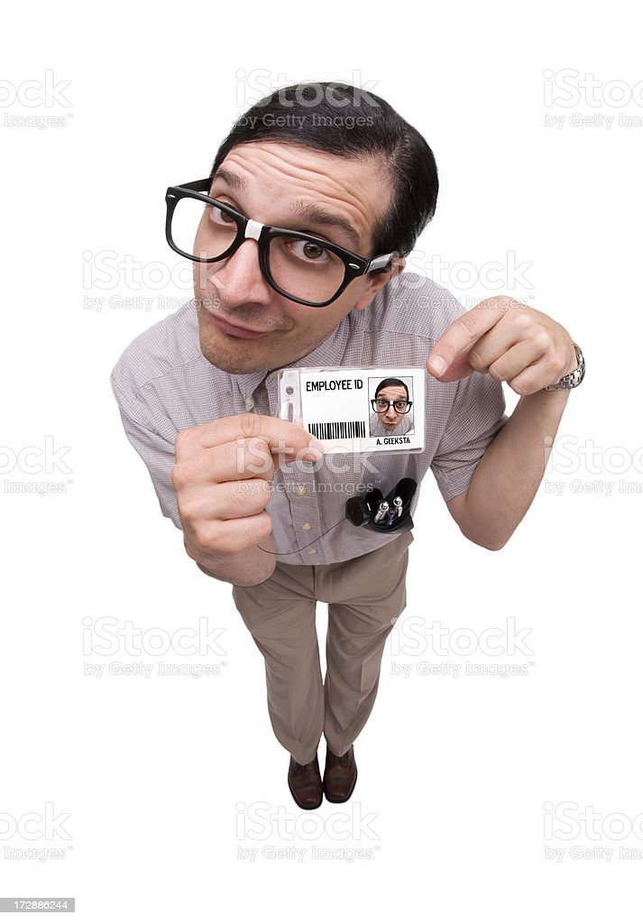 Computer Geek: Employee ID Badge royalty-free stock photo