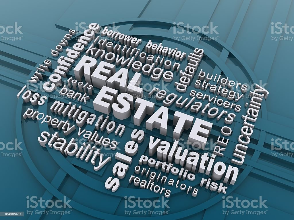 Computer generated abstract of real estate terms royalty-free stock photo