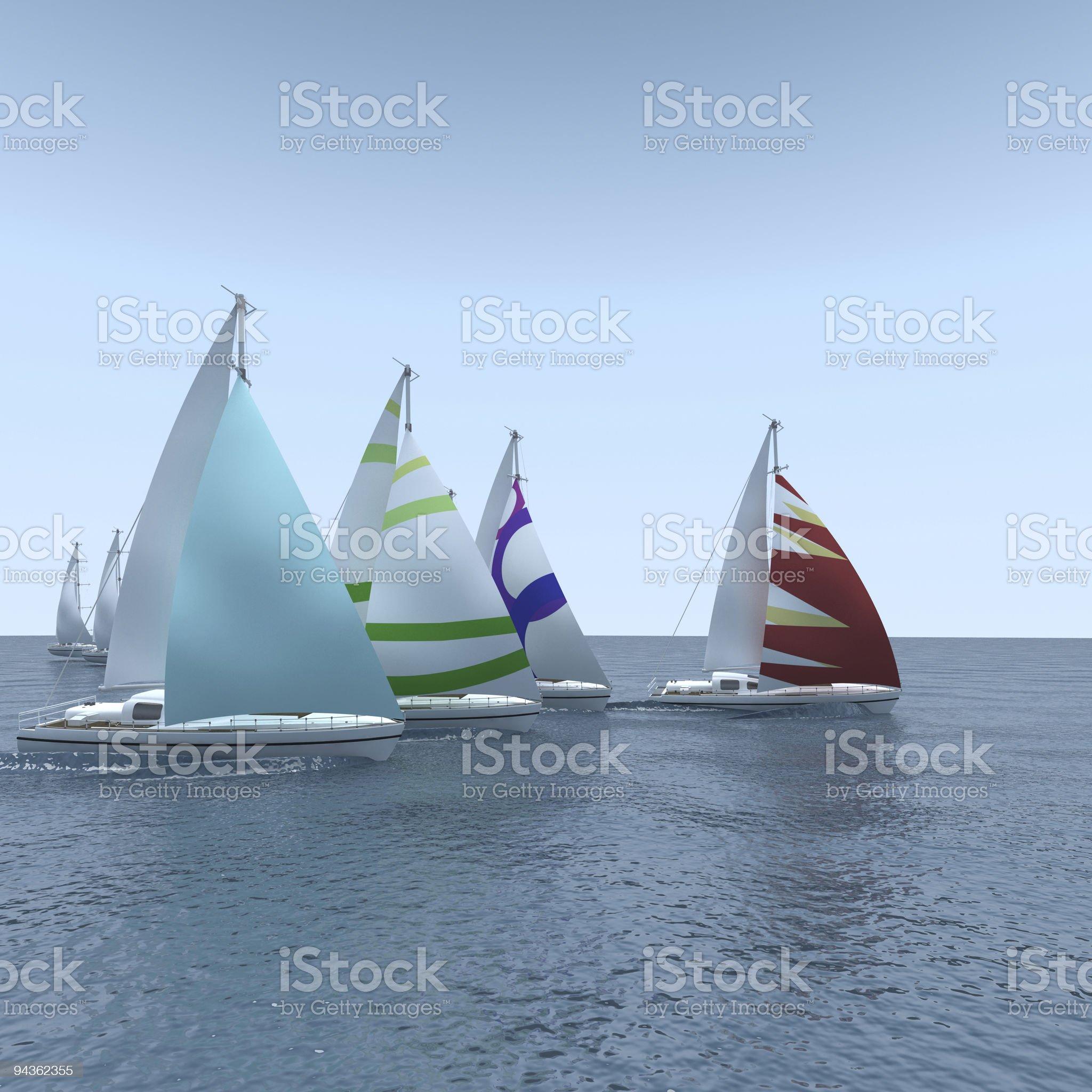 Computer generated sailboat regatta on calm sea royalty-free stock photo