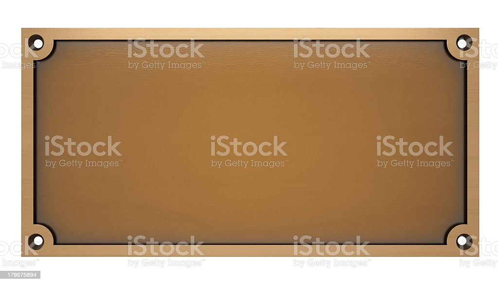 Computer generated template image of a bronze plaque stock photo