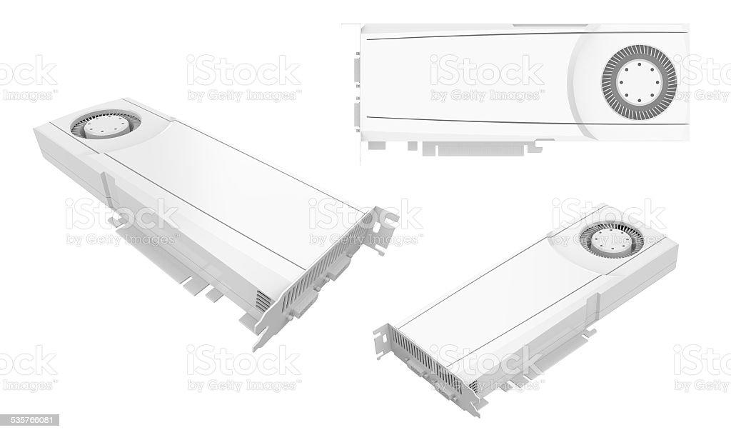 Computer graphic card GPU GTX white on white background stock photo
