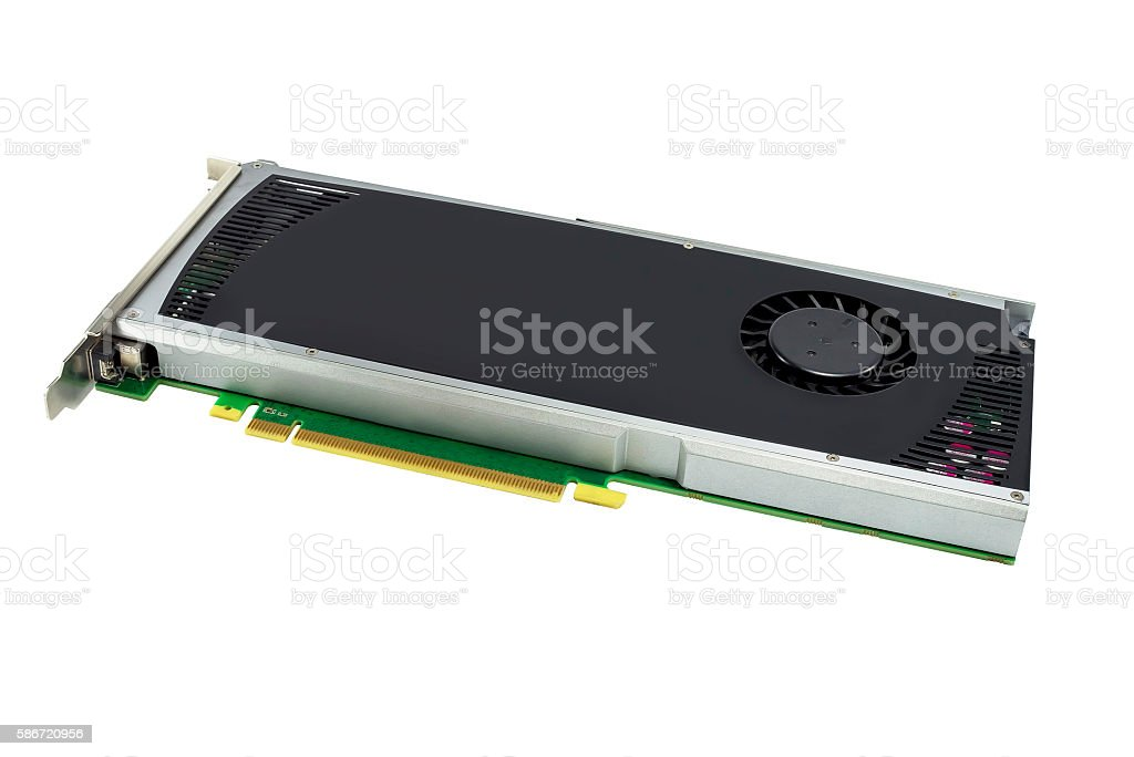 Computer Graphic card Hardware. isolated on white background stock photo