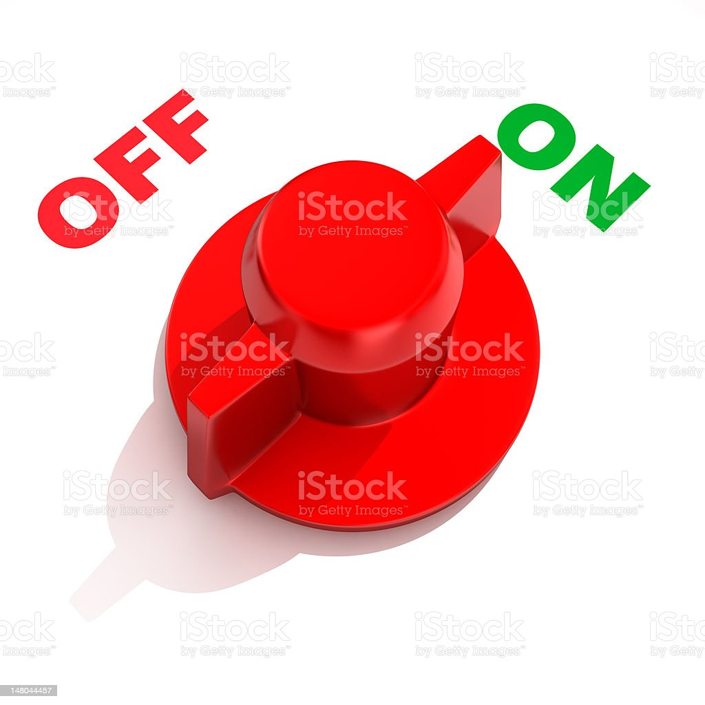 Computer graphic of an analog toggle switch stock photo