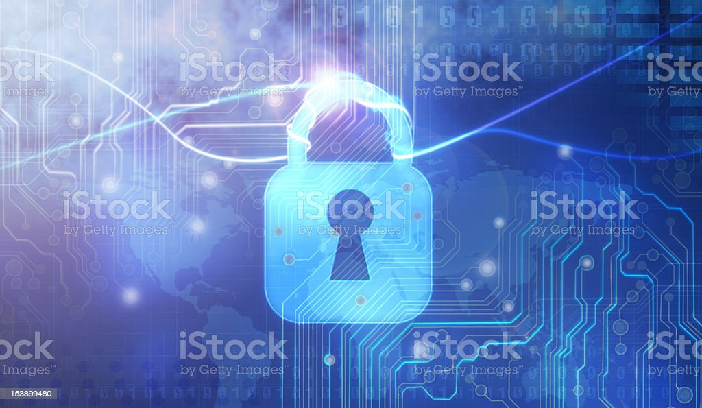 Computer graphic of padlock over circuit board stock photo