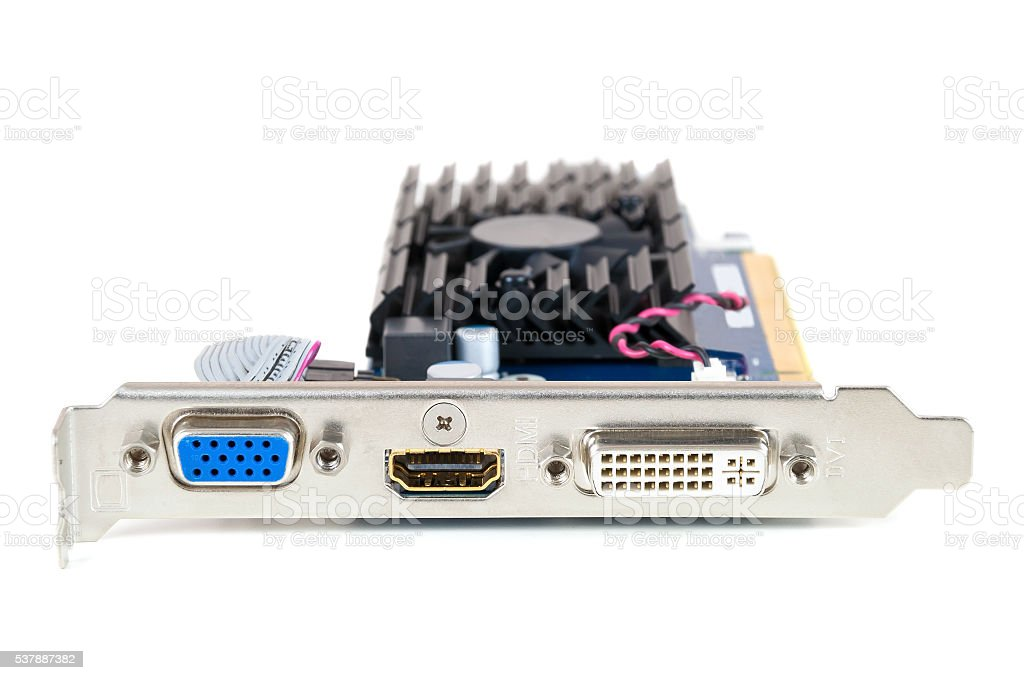 Computer graphics card on white background stock photo