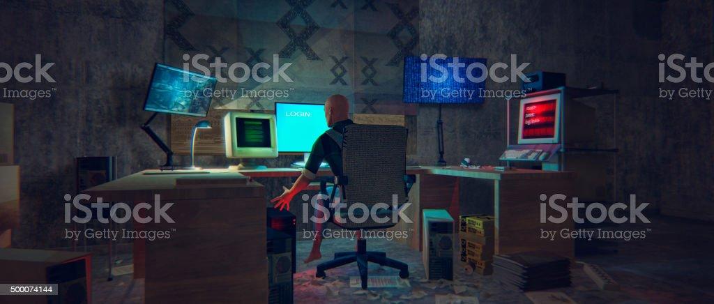 Computer hacker in dark, dirty room at night stock photo