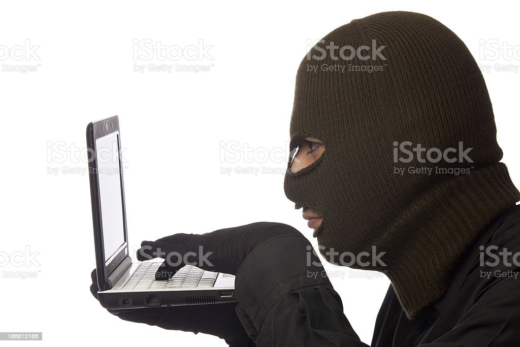 Computer Hacker with mask royalty-free stock photo