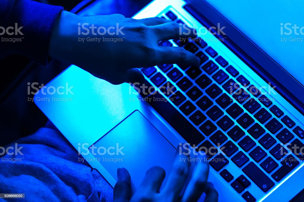 Computer Hacking in Progress stock photo