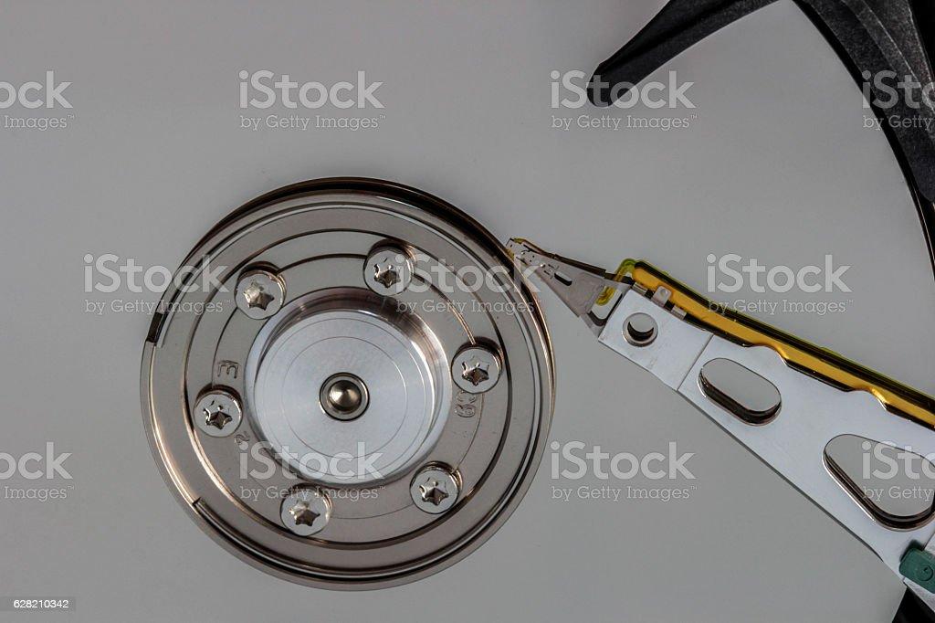 Computer hard disc macro detail stock photo