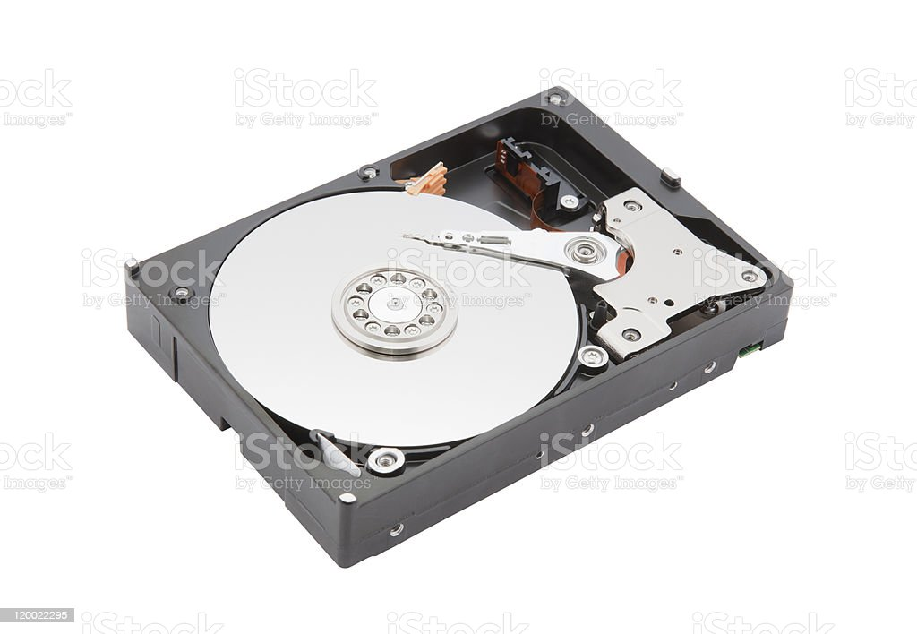 Computer hard disk clipping path on a white background royalty-free stock photo