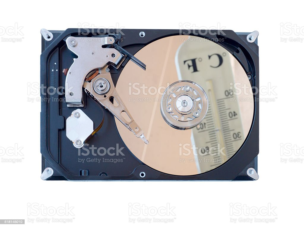 Computer hard disk isolated on white stock photo