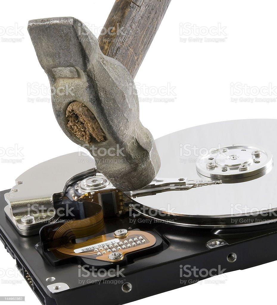 Computer hard disk under hammer royalty-free stock photo