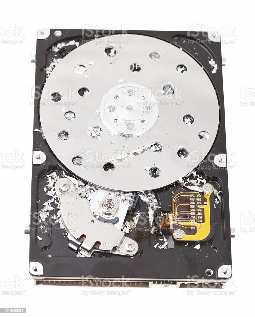 Computer Hard Drive Drilled to Destroy Data royalty-free stock photo