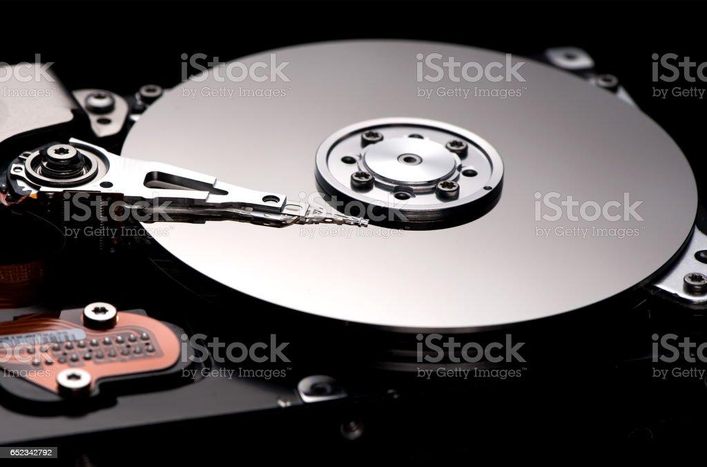 computer hard drive on fire stock photo