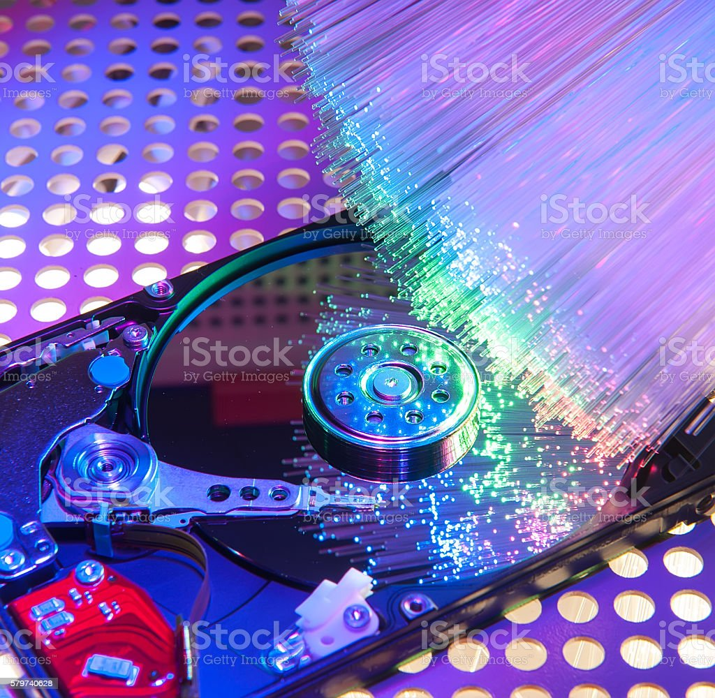 computer hard drives stock photo