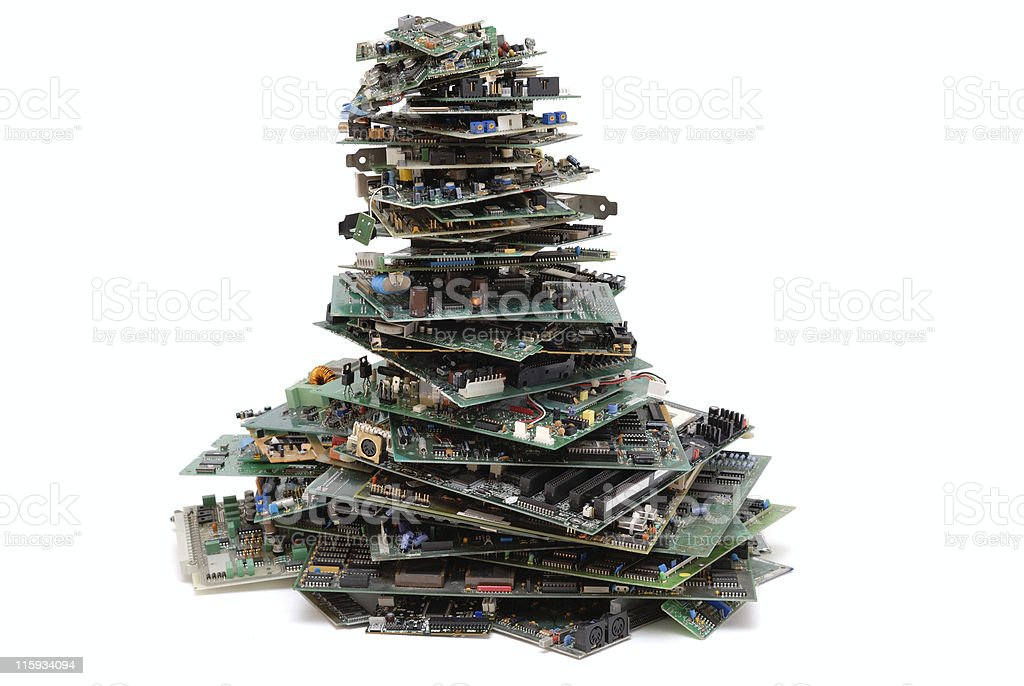 Computer hardware waste stack royalty-free stock photo