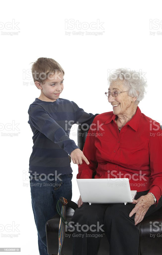 Computer Help For Great Grandma royalty-free stock photo