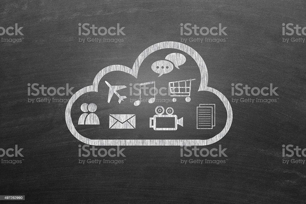 Computer Icons on blackboard stock photo