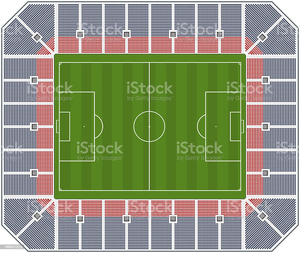 A computer illustration of a empty soccer stadium royalty-free stock photo