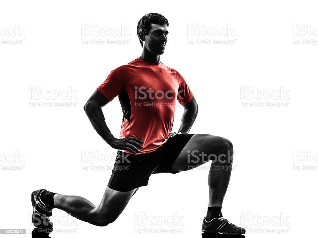 Computer image of a man doing lunges stock photo
