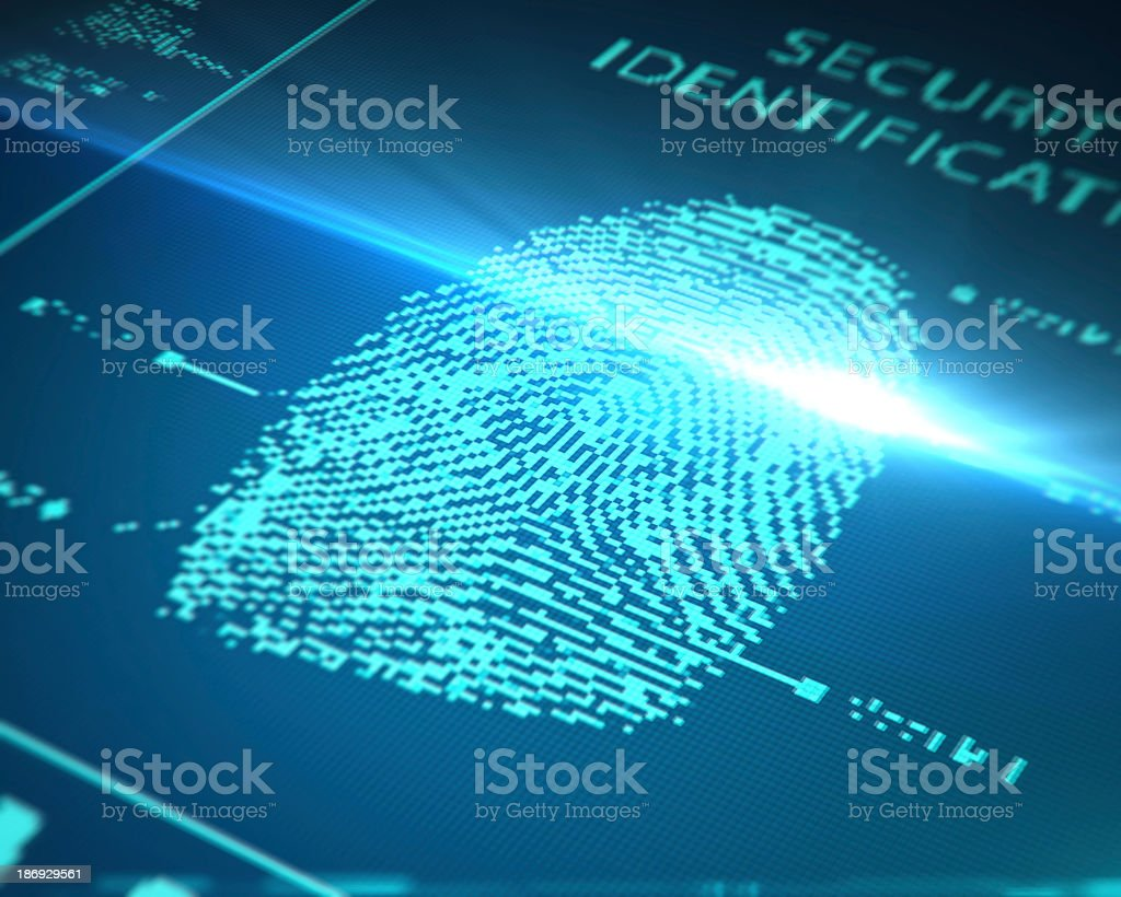 Computer image of a scanned fingerprint stock photo