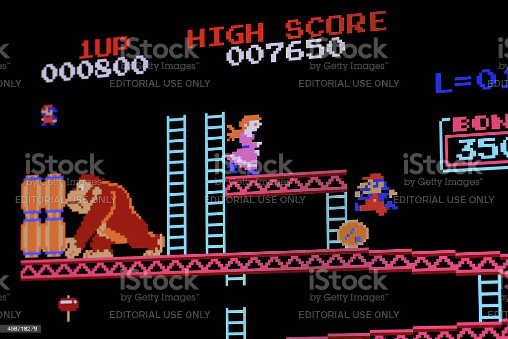Computer image of classic video game stock photo